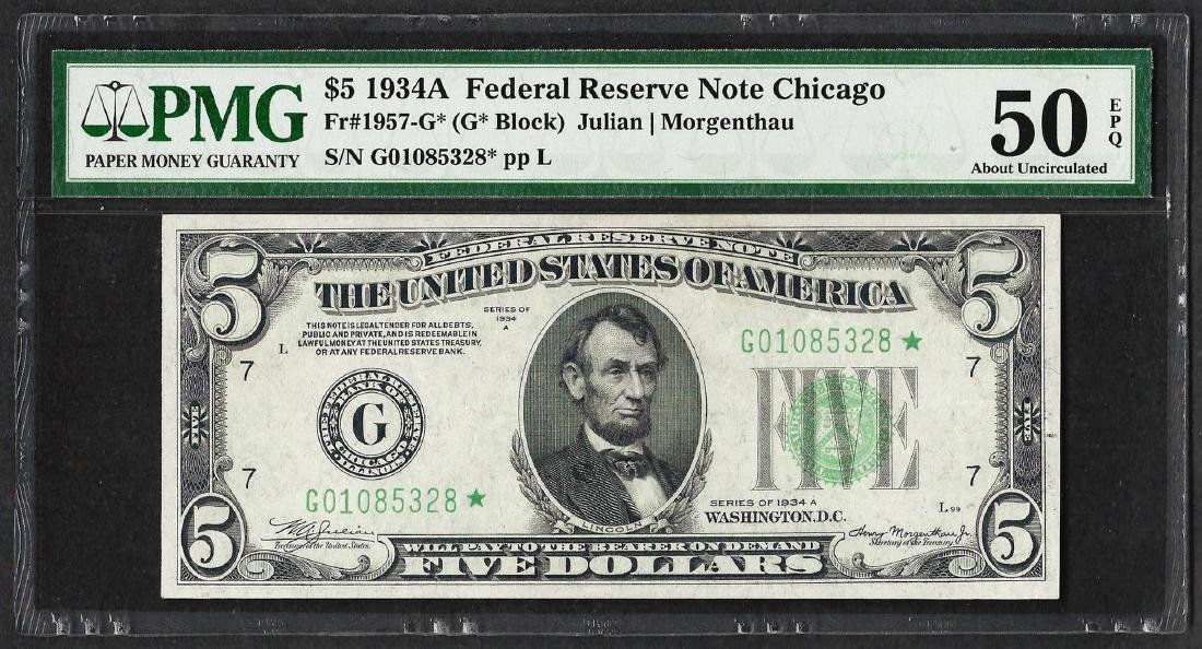 1934A $5 Federal Reserve STAR Note Chicago Fr.1957-G*