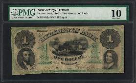 1860's $1 The Merchants Bank Trenton, New Jersey