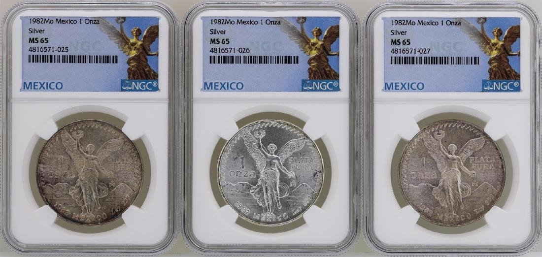 Lot of (3) 1982Mo Mexico Libertad Onza Silver Coins NGC