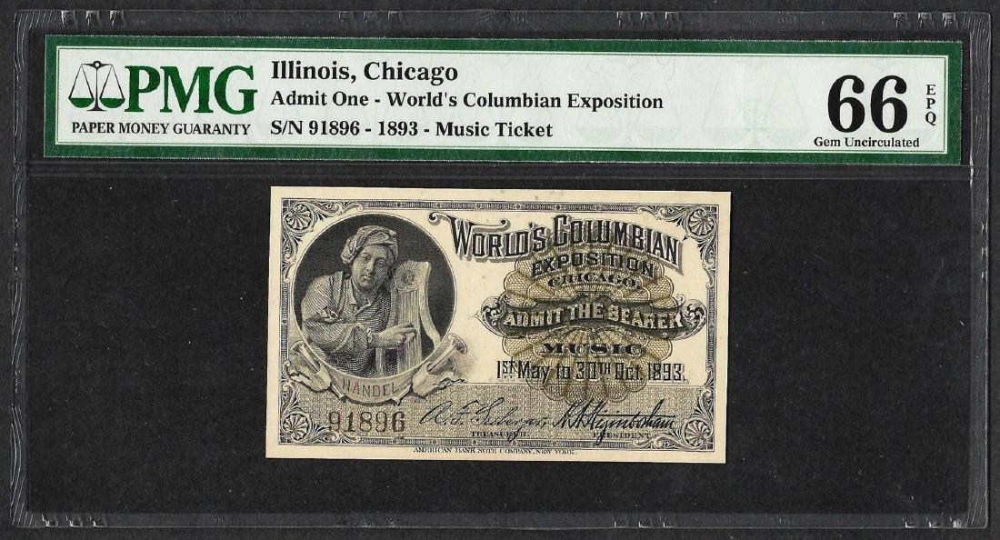 1893 World's Columbian Exposition Ticket Handel PMG Gem