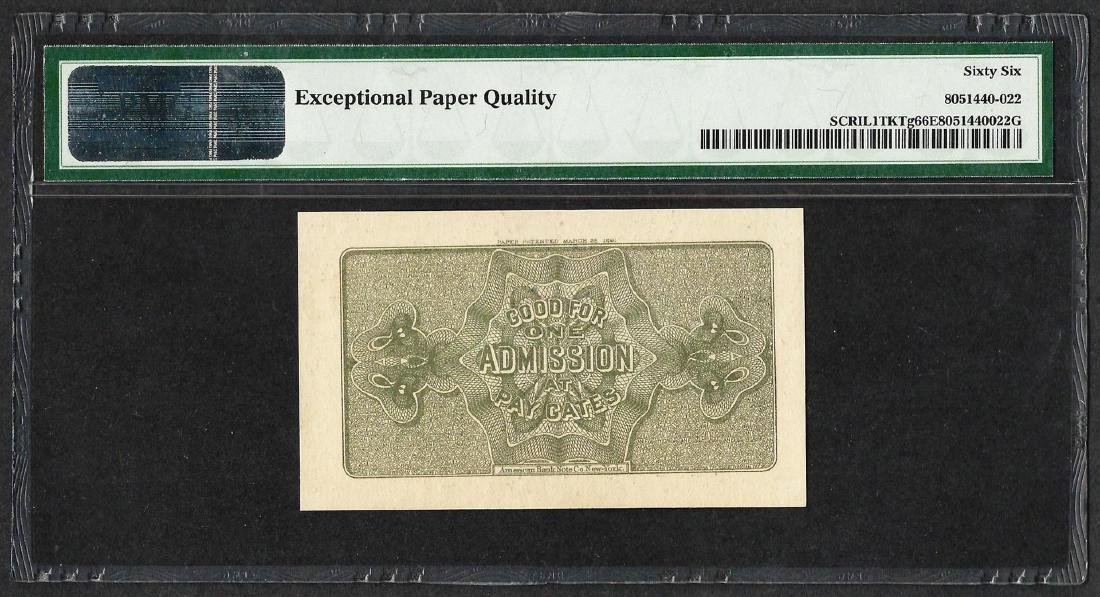 1893 World's Columbian Exposition Ticket Handel PMG Gem - 2