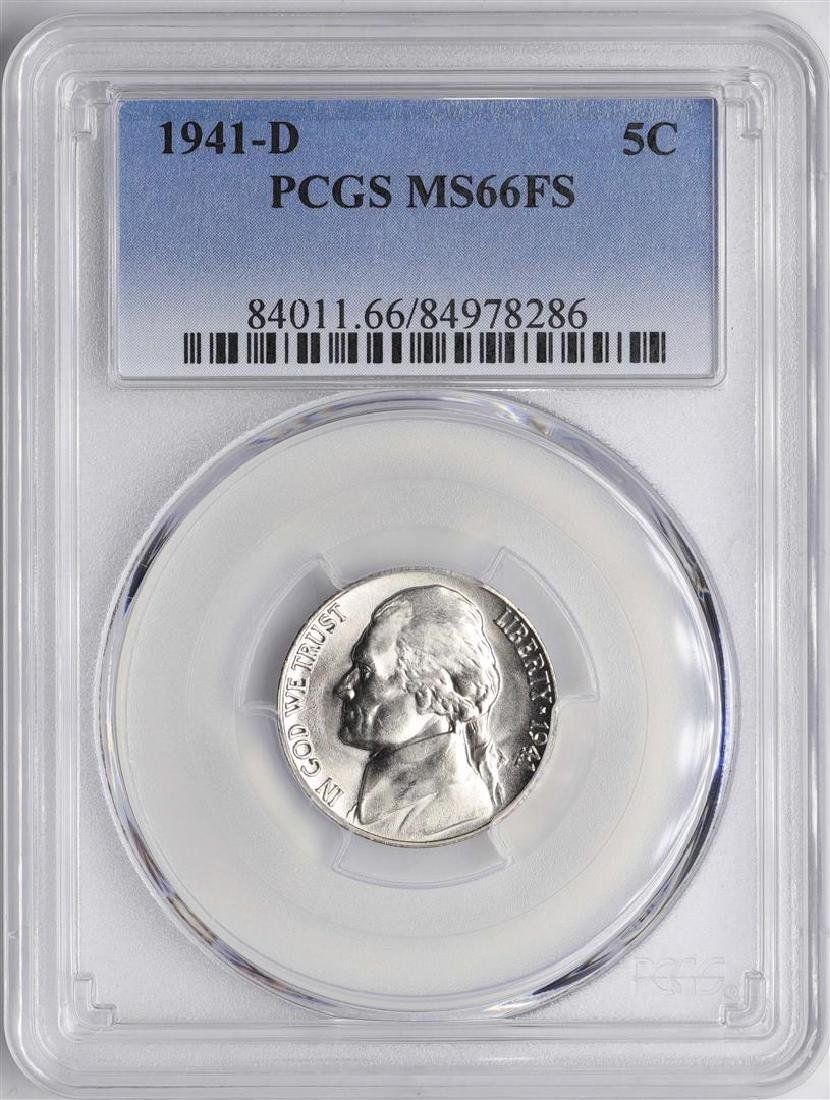 1941-D Jefferson Nickel Coin PCGS MS66FS