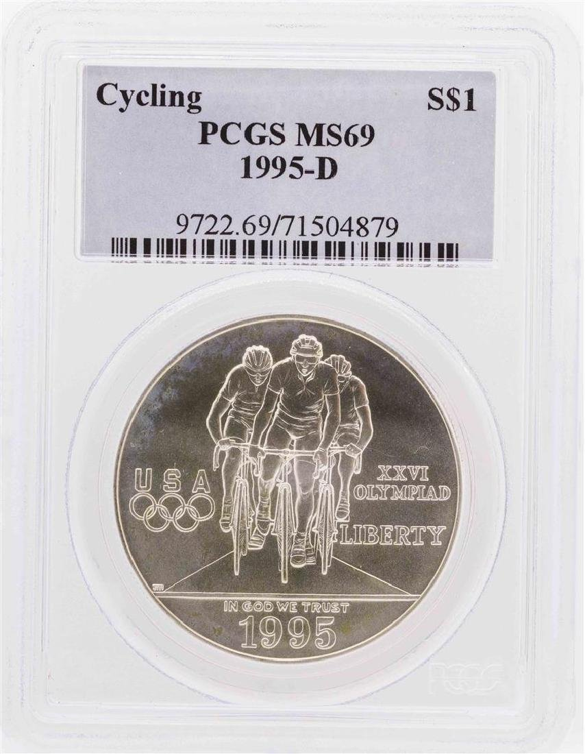 1995-D $1 Cycling Olympic Commemorative Silver Dollar