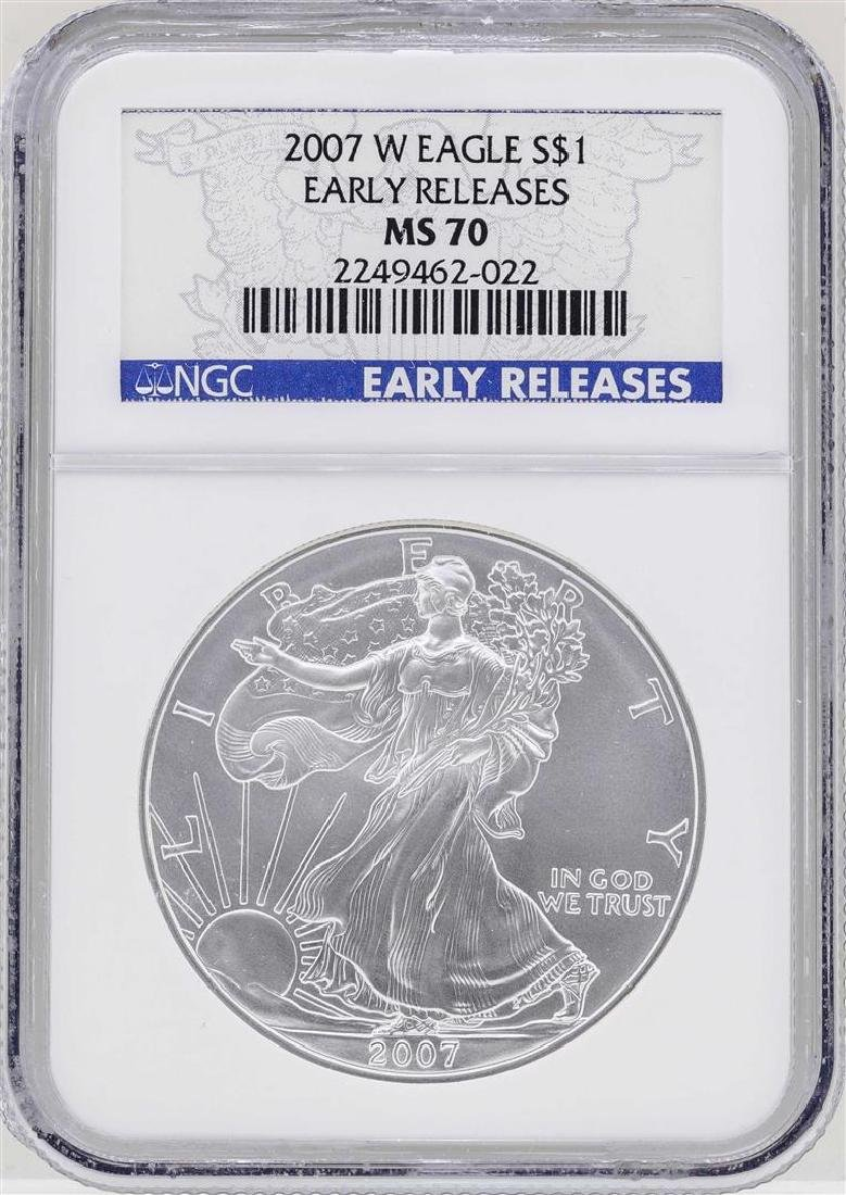 2007-W $1 American Silver Eagle Coin NGC MS70 Early