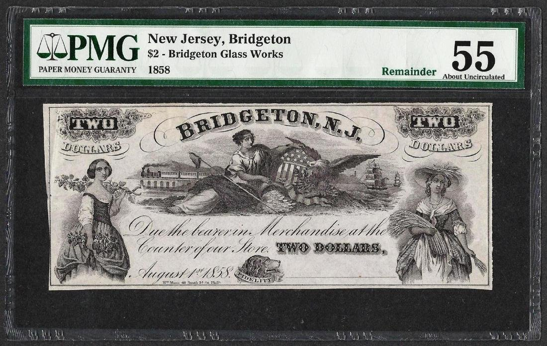 1800's $2 Bridgeton Glass Works Obsolete Note PMG About