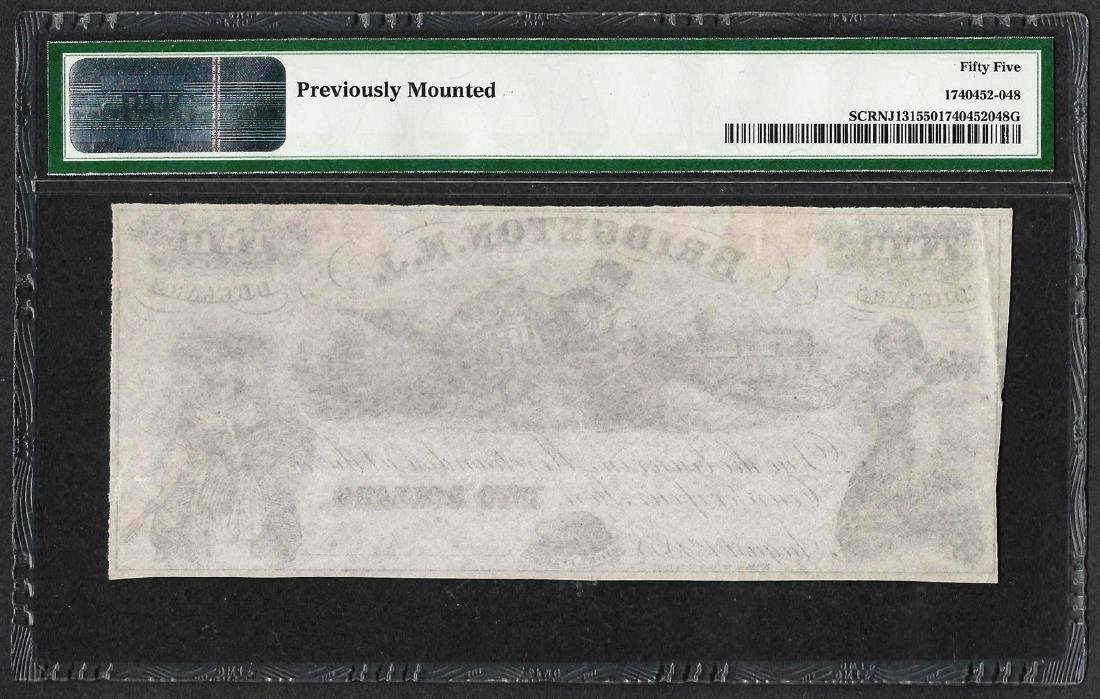 1800's $2 Bridgeton Glass Works Obsolete Note PMG About - 2