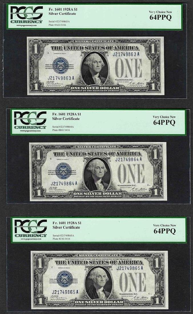 (3) Consecutive 1928A $1 Funnyback Silver Certificate