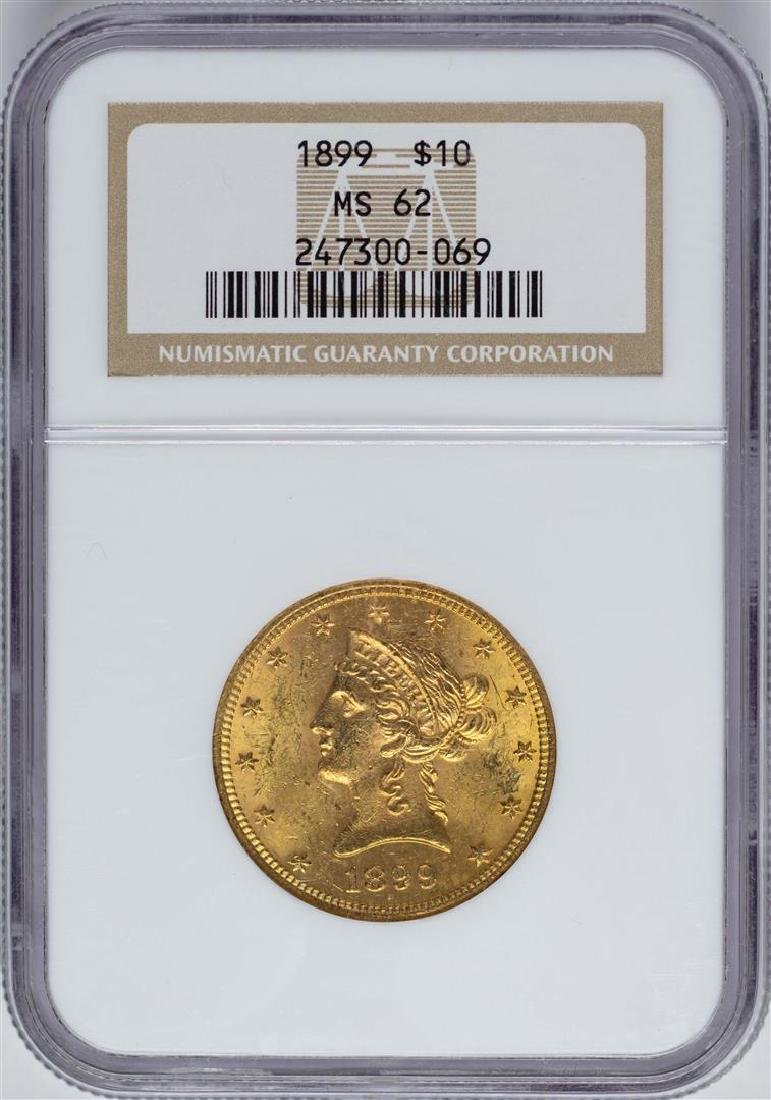 1899 $10 Liberty Head Eagle Gold Coin NGC MS62