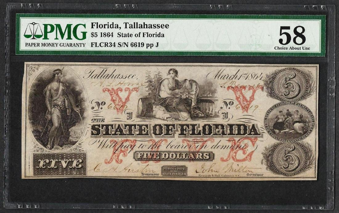 1864 $5 State of Florida Obsolete Note PMG Choice About