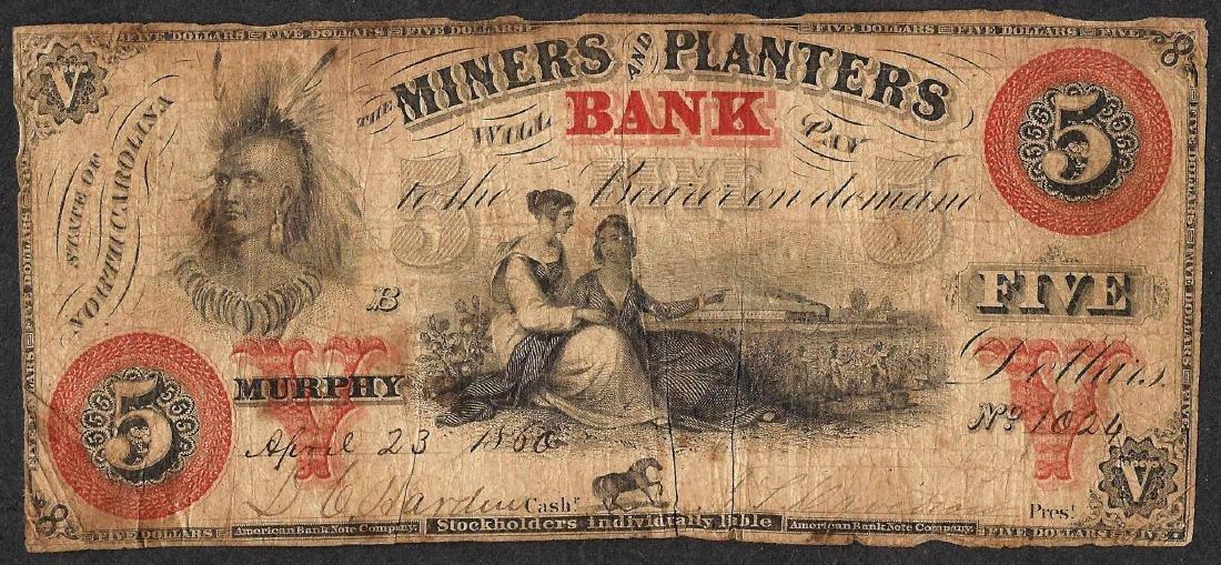 1860 $5 Miners and Planters Bank North Carolina