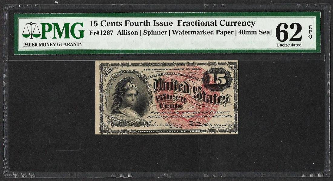 1863 Fifteen Cents Fourth Issue Fractional Note PMG