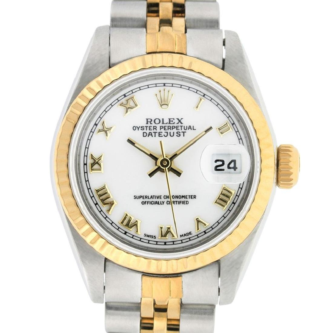 Rolex Ladies Two Tone 14K White Roman 26MM Datejust