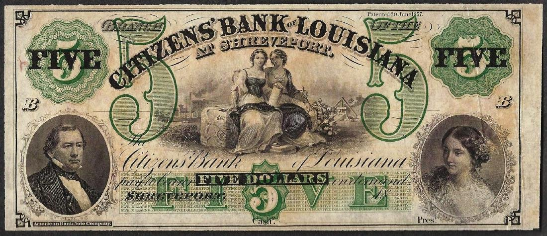 1800's $5 Citizens Bank of Louisiana Obsolete Note