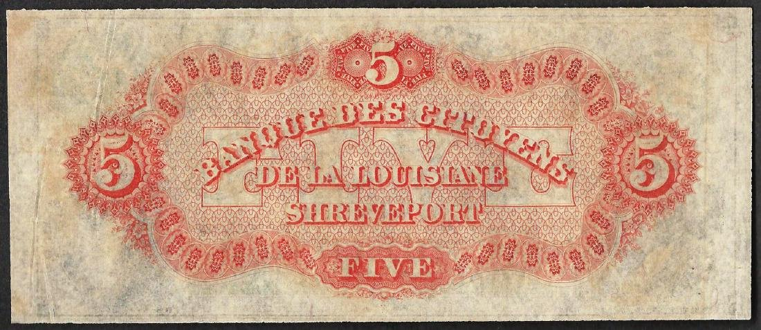 1800's $5 Citizens Bank of Louisiana Obsolete Note - 2