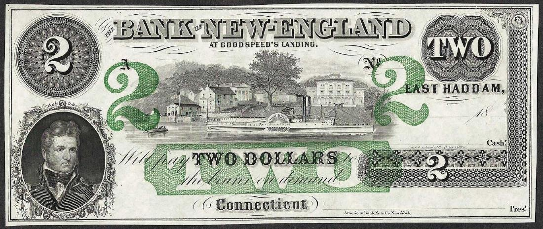 1800's $2 Bank of New England Obsolete Note