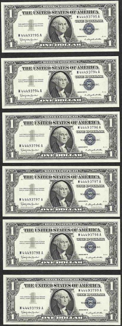 Lot of (6) Consecutive 1957B $1 Silver Certificate