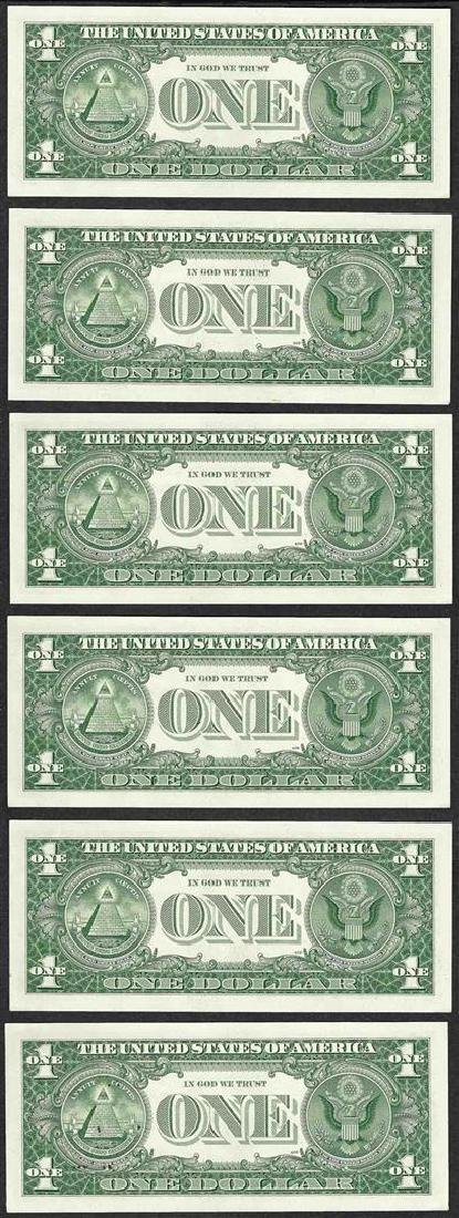Lot of (6) Consecutive 1957B $1 Silver Certificate - 2