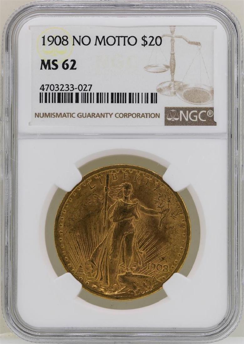 1908 $20 No Motto St. Gaudens Double Eagle Gold Coin