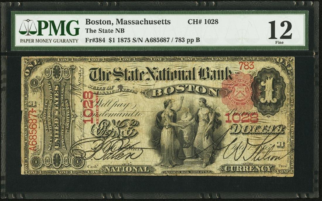 1875 $1 State NB of Boston, Massachusetts CH# 1028