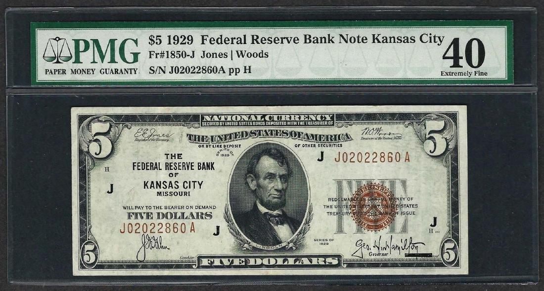 1929 $5 Federal Bank of Kansas City Note Fr.1850-J PMG