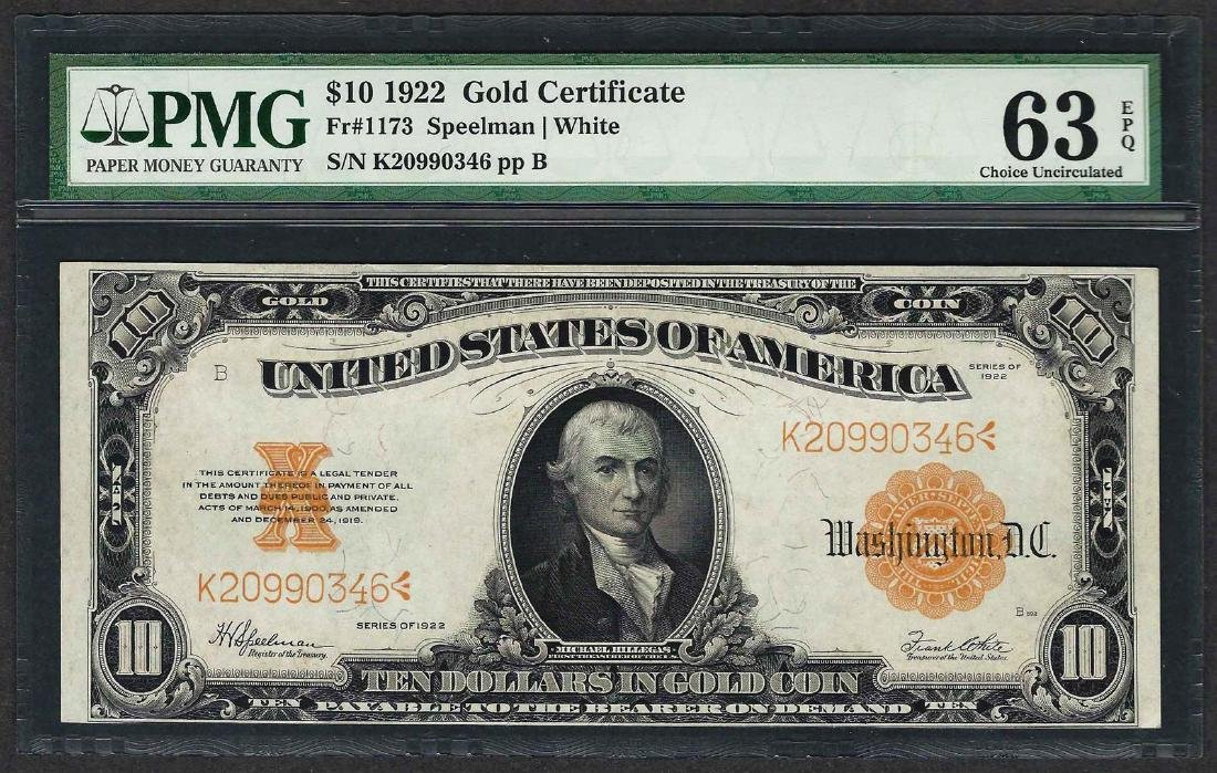 1922 $10 Gold Certificate Note Fr.1173 PMG Choice