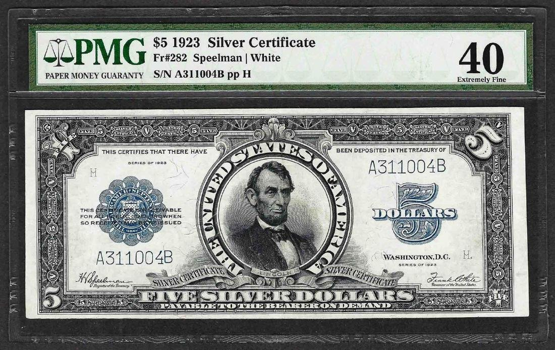 1923 $5 Porthole Silver Certificate Note PMG Extremely