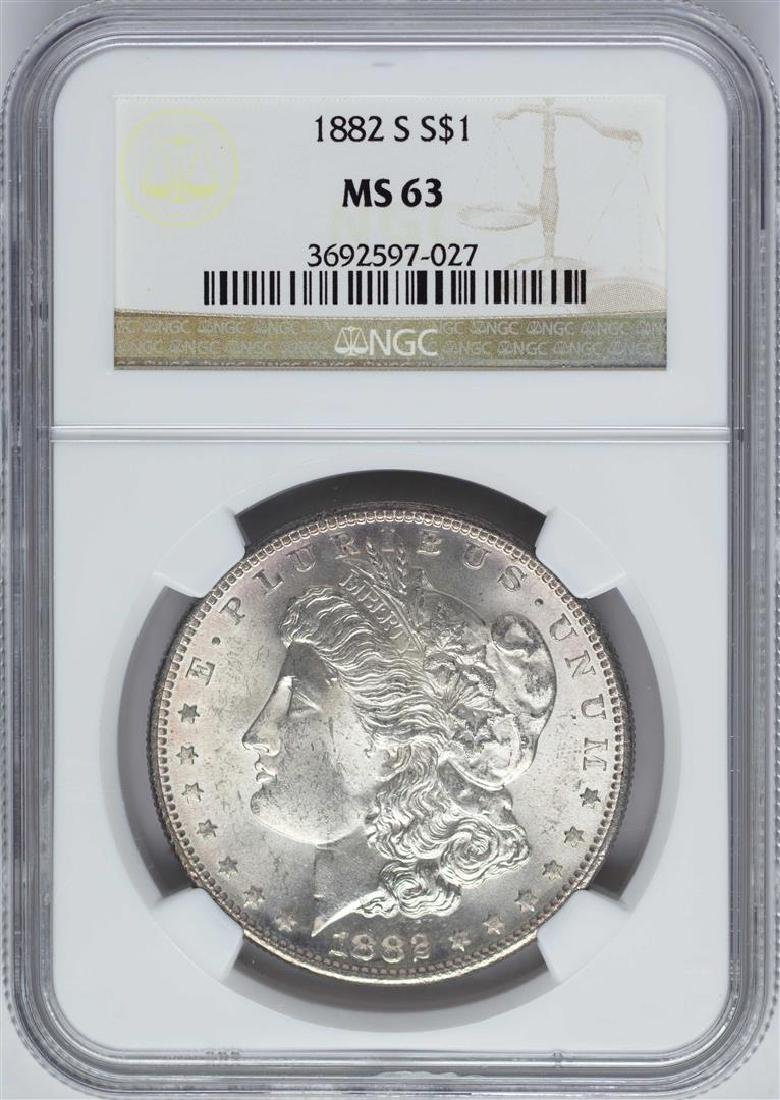 1882-S $1 Morgan Silver Dollar Coin NGC MS63