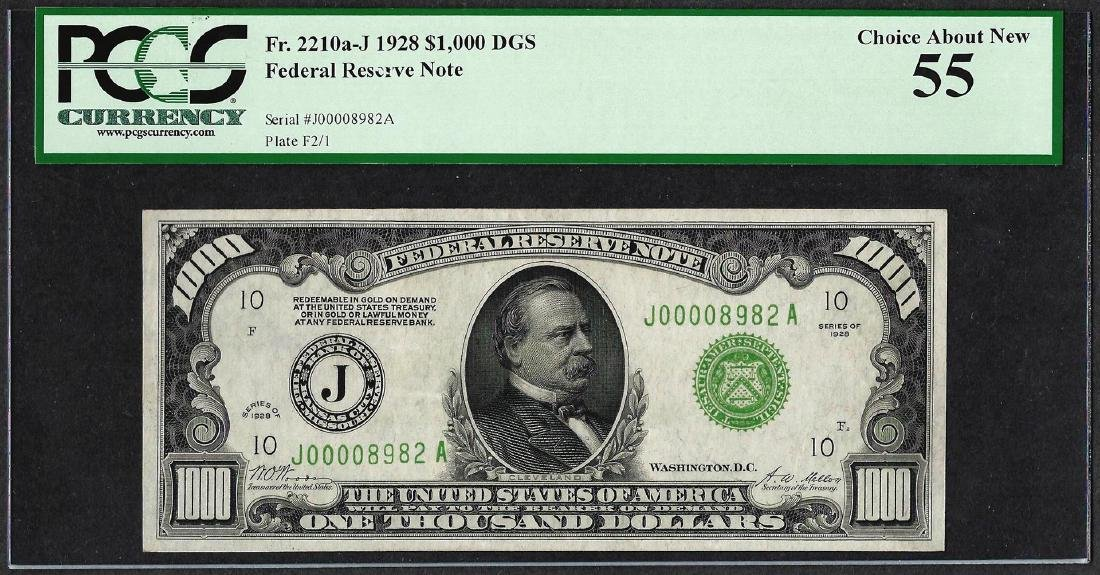 1928 $1,000 Federal Reserve Note Kansas City Fr.2210a-J
