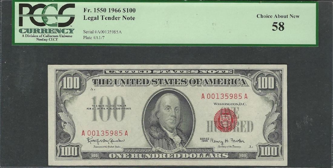 1966 $100 Legal Tender Note Fr.1550 PCGS Choice About