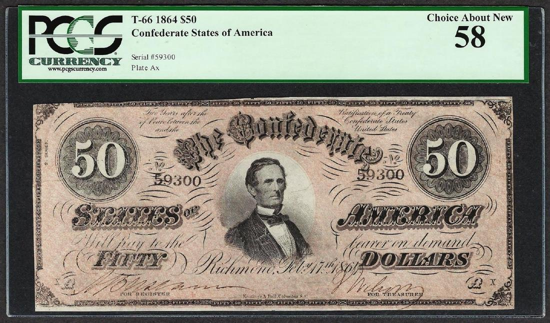 1864 $50 Confederate States of America Note T-66 PCGS