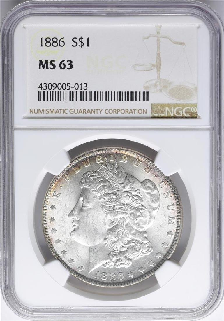 1886 $1 Morgan Silver Dollar Coin NGC MS63