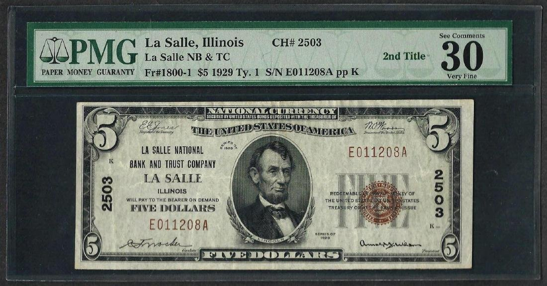 1929 $5 National Currency Note La Salle, Illinois CH#