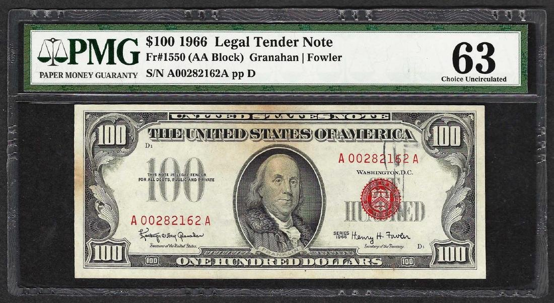 1966 $100 Legal Tender Note Fr.1550 PMG Choice