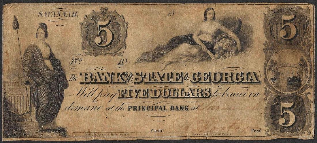 1800's $5 Bank of the State of Georgia Obsolete Note