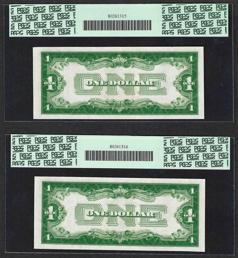 (2) Consecutive 1928B $1 Funnyback Silver Certificate - 2
