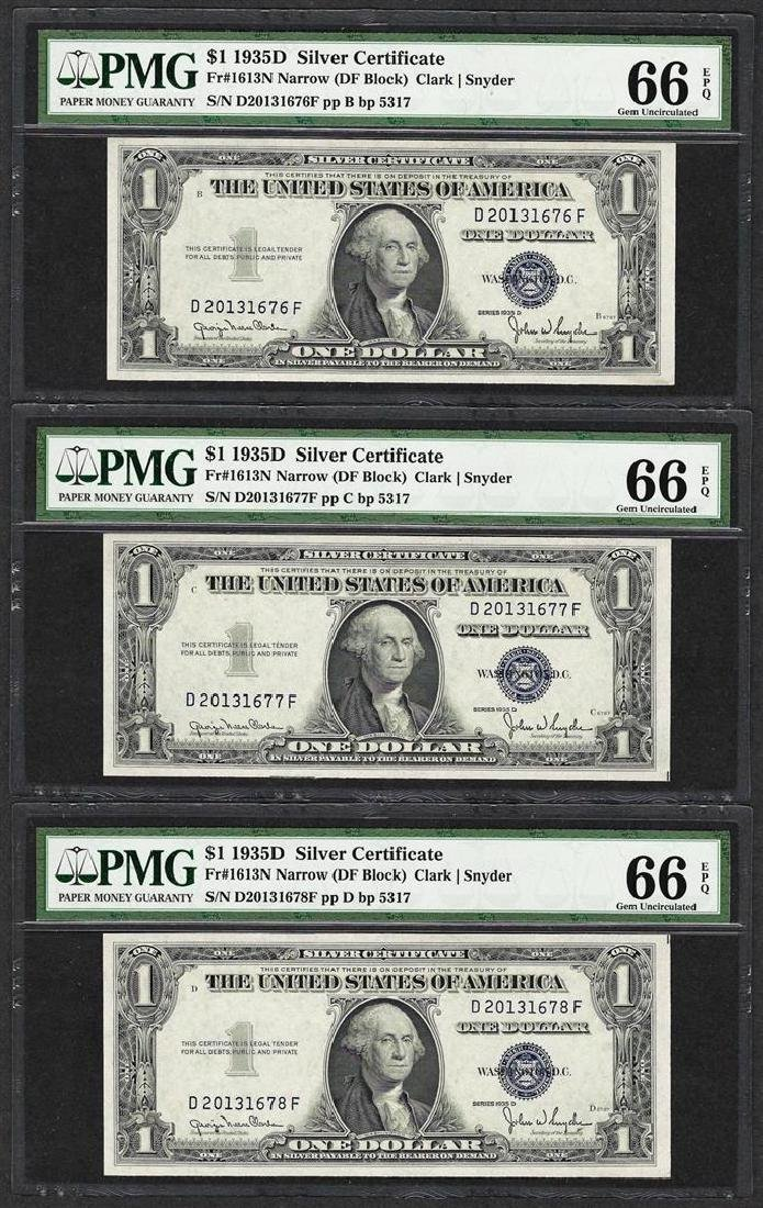 Lot of (3) Consecutive 1935D $1 Silver Certificate