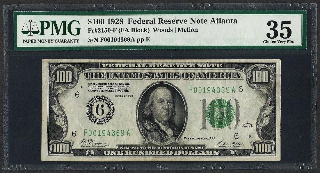 1928 $100 Federal Reserve Note Atlanta Fr.2150-F PMG