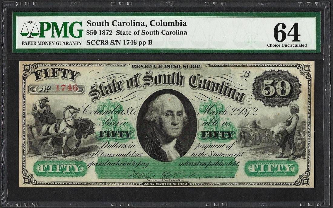 1872 $50 State of South Carolina Obsolete Note PMG