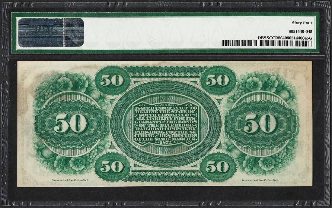 1872 $50 State of South Carolina Obsolete Note PMG - 2
