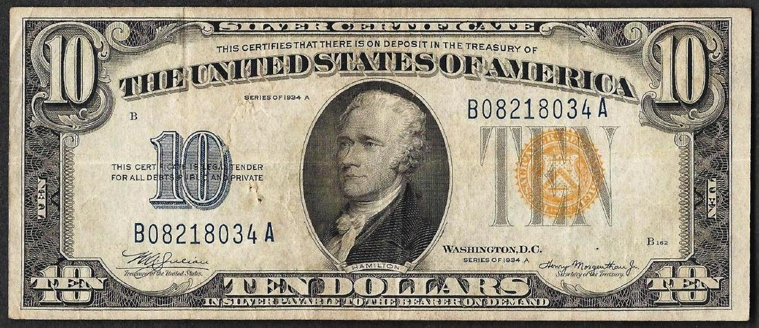 1934A $10 Silver Certificate WWII Emergency North