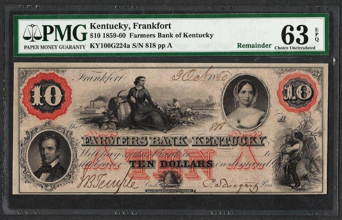 1859 $10 Farmers Bank of Kentucky Obsolete Note PMG