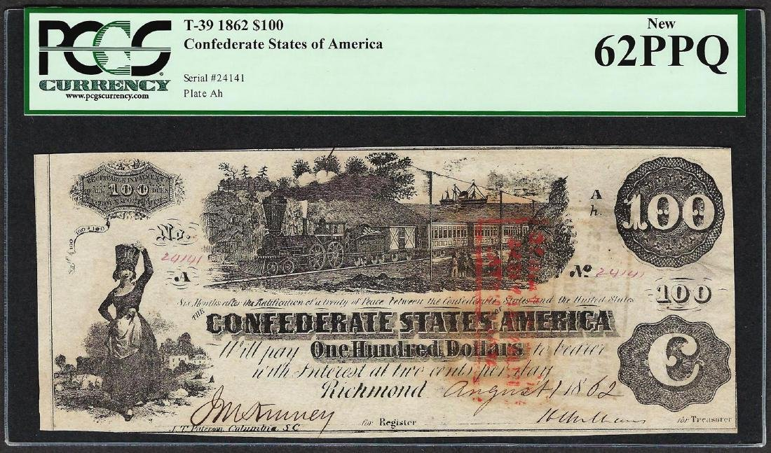1862 $100 Confederate States of America Note T-39 PCGS