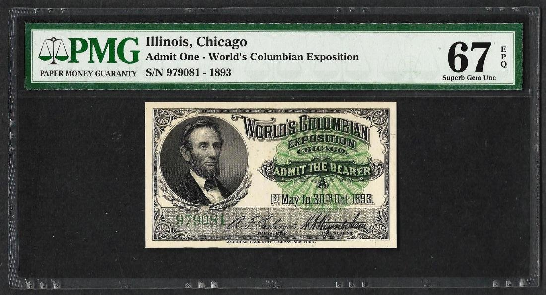 1893 World's Columbian Exposition Ticket Lincoln PMG