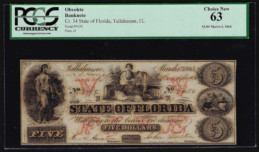 1864 $5 State of Florida Tallahassee Obsolete Bank Note