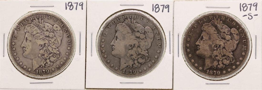 Lot of 1879-S & (2) 1879 $1 Morgan Silver Dollar Coins