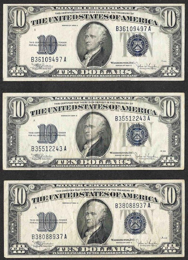 Lot of (3) 1934C $10 Silver Certificate Notes