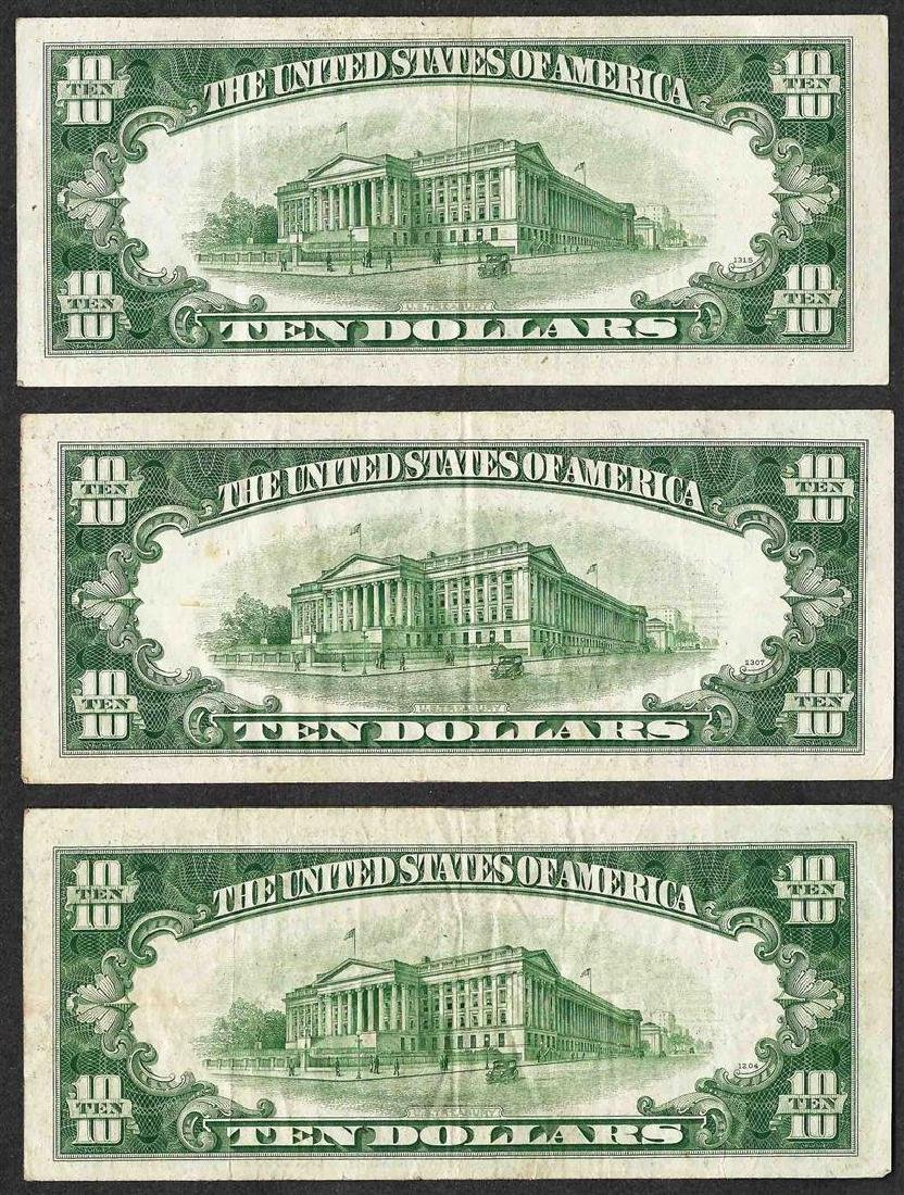 Lot of (3) 1934C $10 Silver Certificate Notes - 2