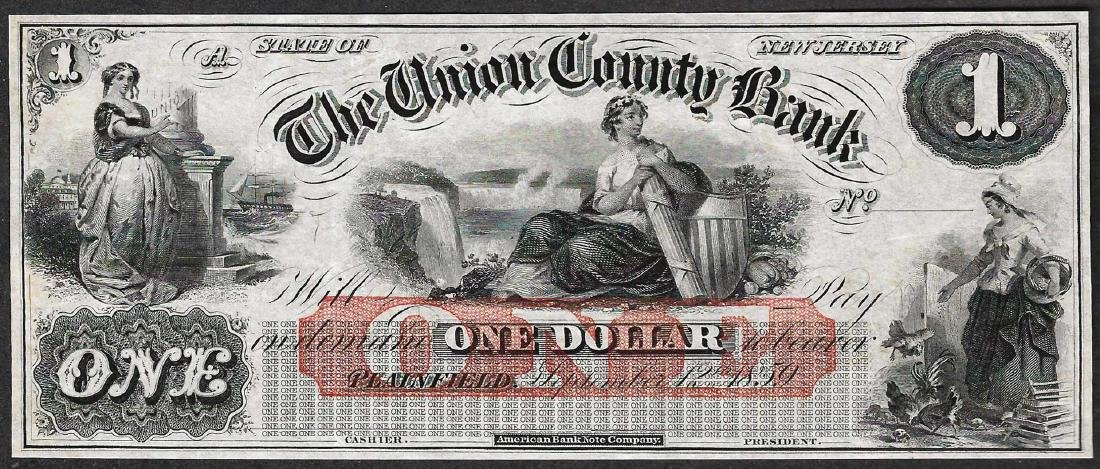 1800's $1 The Union County Bank Obsolete Note