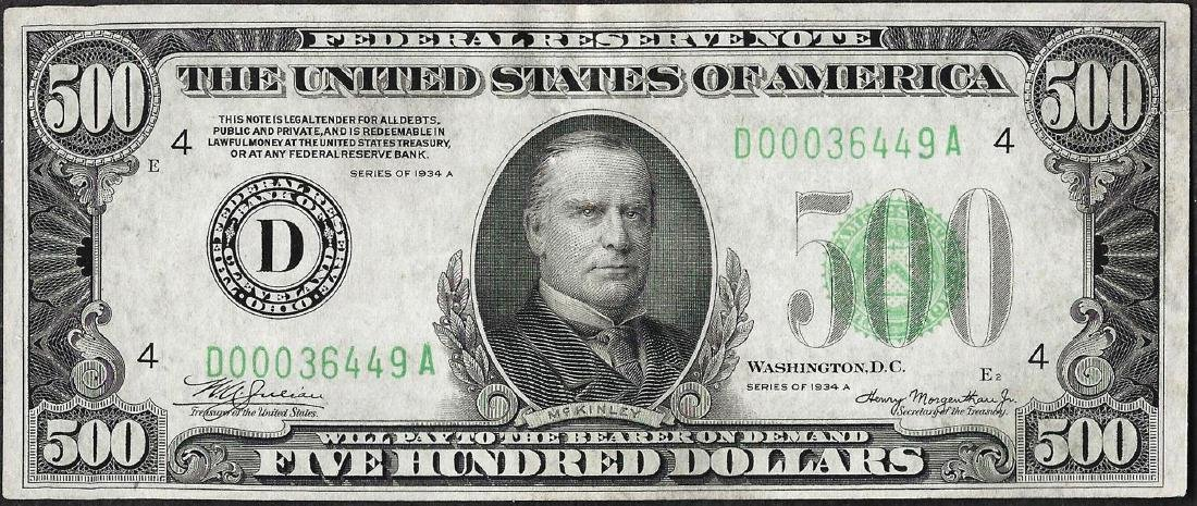 1934A $500 Federal Reserve Note Cleveland
