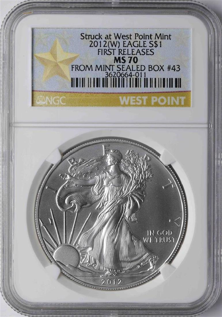 2012-W $1 American Silver Eagle Coin NGC MS70 First